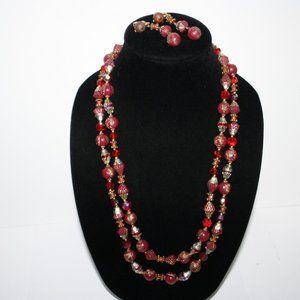 Red and gold necklace earrings set vINTAGE
